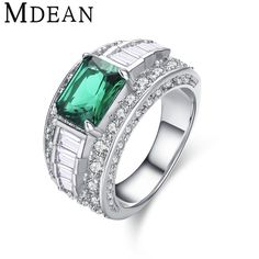 [Visit to Buy] MDEAN White Gold Color Engagement Rings for women AAA Zircon Jewelry Women Wedding Ring Bague Green Size 5 6 7 8 9 10 MSR413 #Advertisement