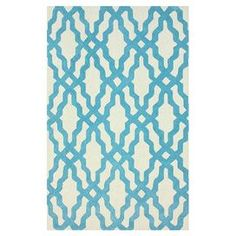 Hand-hooked cotton rug with trellis motif.  Product: RugConstruction Material: 100% CottonColor: AquaFeatures: Hand-hookedNote: Please be aware that actual colors may vary from those shown on your screen. Accent rugs may also not show the entire pattern that the corresponding area rugs have.Cleaning and Care: These rugs can be spot treated with a mild detergent and water. Professional cleaning is recommended if necessary.