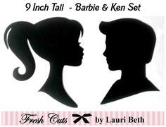 Barbie and Ken Inspired Silhouettes Die Cut Paper Cuttings 9 inch tall to frame Barbie E Ken, Barbie Games, Bad Barbie, Barbie Theme Party, Barbie Birthday Party, Party Themes, Birthday Party Favors, Party Ideas, Barbie Decorations