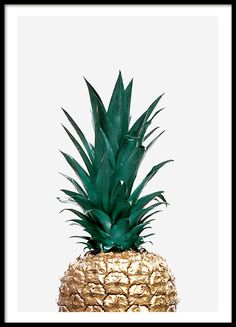 Poster of gold pineapple on a light green background. Stylish and trendy. Works with many decorating styles. www.desenio.com