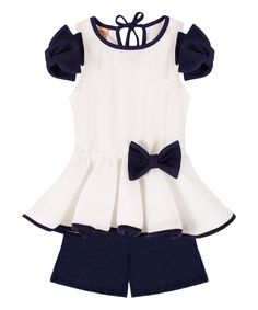 White & Black Shannon Tunic & Black Shorts - Toddler & Girls