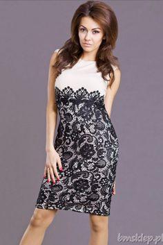 Sukienka 3/4 z koronkowym dołem... #Sukienki - http://bmsklep.pl/emamoda-sukienka-kremowy-6817-4