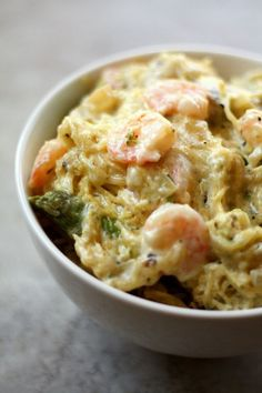 Low-Carb Spaghetti Squash Shrimp Alfredo Recipe by Drool Worthy