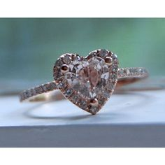 Heart peach champagne rose gold diamond ring. So sweet and pretty! Would be an amazing anniversary present!?