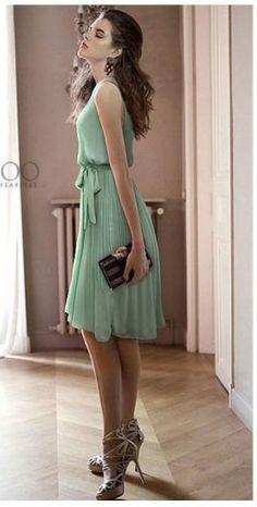 Mint Green Sleeveless Pleated Belt Chiffon Dress - $27 http://www.sheinside.com/Mint-Green-Sleeveless-Pleated-Belt-Chiffon-Dress-p-113503-cat-1727.html?medium=HardPin=Pinterest=type359=hardpin_type359