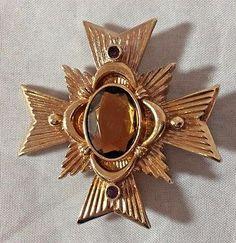 Vtg Avon Maltese Cross Pin Brooch Pendant Signed Gold Tone Faceted Glass