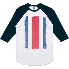 theIndie Weathered Flag of Costa Rica 3/4-Sleeve Raglan Baseball T-Shirt