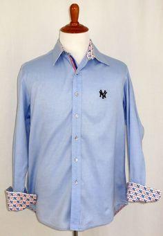 Robert Graham New York Yankees Baseball MLB Long Sleeve Shirt Red White Blue M #RobertGraham #ButtonFront