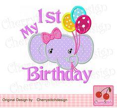 My 1st BirthdayHappy elephant Animal by CherryStitchDesign on Etsy