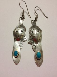 Navajo Turquoise Sterling Earrings Silver 925 Blue Mask Chief Man Warrior Genuine Vintage Native American Tribal Southwestern Boho Jewelry on Etsy, $45.00