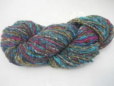Noro Kogarashi Yarn Wool, Silk 1 skeins Color 15 Turquoise, Cranberry, Gold #Noro #HandDyed