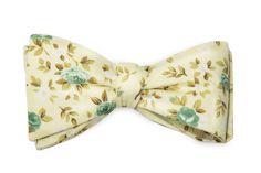 Gravata Borboleta Estampa Floral Amarelo