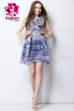 773e8a2a795 Find More Dresses Information about Aegean Fashion 2015 summer women  sleeveless dress butterfly printed dress