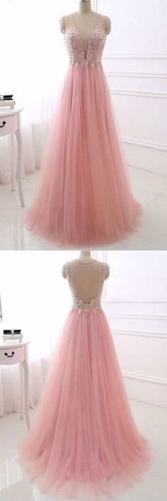 elegant pink prom party dresses with plunging neckline, fashion formal evening gowns with sparkle beaded, #dresses #formalgowns