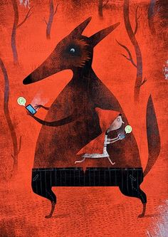 Whats app... Caperuza?: Illustration by Luis San Vicente #illustration #LittleRedRidingHood #wolf