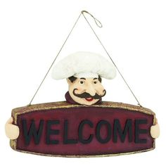Polystone Chef Welcome Sign Wall Décor