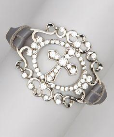 Love this Silver & Gray Cross Medallion Bracelet on #zulily! #zulilyfinds