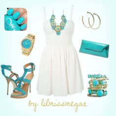 """""""turquoise & gold"""" by lilmissmegan on Polyvore"""