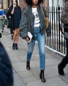 bomber jacket, vintage-inspired straight leg jeans.