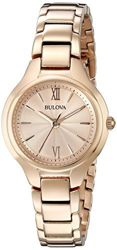 Bulova Womens 97L151 Analog Display Quartz Rose Gold Watch -- Find out more about the great product at the image link.