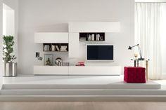 meuble tv blanc de design moderne et tabouret-cube capitonné