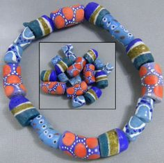 mixed set of blue beads. handmade, after baking in the kiln, the beads were painted.