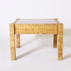 Rattan side table in the style of Billy Baldwin, c. 1960