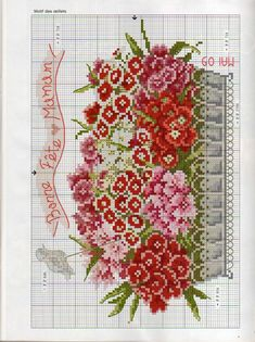 Basket of flowers counted cross stitch pattern Cross Stitch Love, Cross Stitch Flowers, Counted Cross Stitch Patterns, Cross Stitch Charts, Cross Stitch Designs, Cross Stitch Embroidery, Ribbon Embroidery, Embroidery Patterns, Cross Stitching