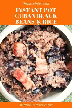 This Instant Pot no soak Cuban Black beans and rice recipe that tastes as traditional as its classic counterpart. | Cooking with Black Beans | Instant Pot Recipe | Cuban Recipe | Black Bean and Rice Recipe | Cuban Black Beans, Dried Black Beans, Black Beans And Rice, Canned Black Beans, Dried Beans, Cuban Recipes, Rice Recipes, Vegetarian Recipes, Instant Pot Beans Recipe