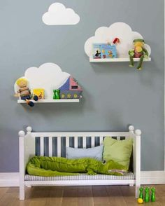 { DIY } cloud shelves using ikea ribba ledges and a wall decal (or paint directly onto wall) Baby Boy Rooms, Baby Bedroom, Nursery Room, Girls Bedroom, Nursery Decor, Nursery Ideas, Kids Rooms, Ikea Nursery, Childs Bedroom
