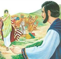 Abraham's servant travels far to find a good wife for Isaac. Rebekah proves to be an answer to a prayer when she draws water for the servant and his 10 camels. Religious Pictures, Bible Pictures, Christian Pictures, Religious Paintings, Women Of Faith, Old Testament, Good Wife, Bible Stories, Elementary Art