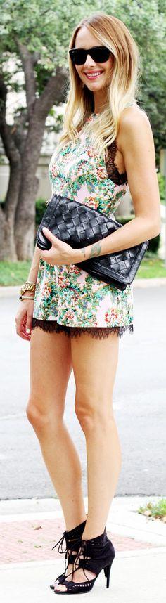 Topshop Multi Floral Black Laace Trim Playsuit