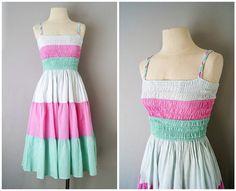 70s sundress // cotton pastel dress x small by VacationVintage, $64.00