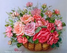 Roses in a basket #ribbonEmbroidery