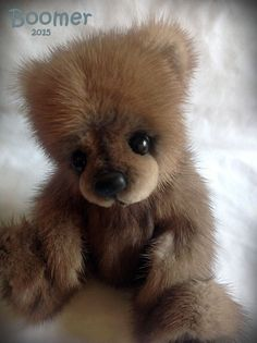 Realistic Teddy Bear Cub - Real Mink Fur by Published Artist Jenea Ivey #AllOccasion