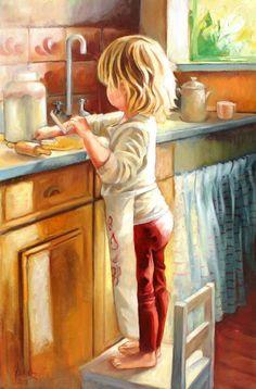 Illustration by Jonel Scholtz Art Pictures, Photos, Norman Rockwell, Beautiful Paintings, Belle Photo, Cute Art, Vintage Art, Art For Kids, Watercolor Paintings
