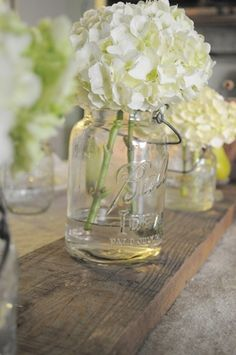 Vintage Canning Jar with Hydrangea i really love this to go with my rustic theme, but are the mason jars too much??