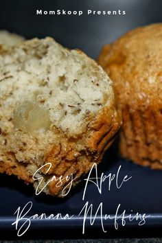 Easy Super Moist Banana Apple Muffins are delicious, moist, perfect day or night and better yet, a great way to use up ripe fruit! Banana Apple Recipes, Apple Banana Muffins, Strawberry Muffins, Apple Dessert Recipes, Sweet Desserts, Baking Recipes, Easy Recipes, Healthy Recipes, Triple Chocolate Muffins