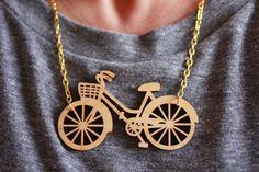 Bicycle Necklace. Wooden Statement Necklace. Laser por RockCakes