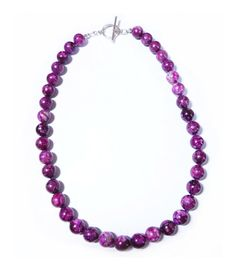 Beautiful 300+ Carats Genuine Natural 18 inch 10mm Sugilite Bead Necklace With Solid Sterling Silver Toggle Clasp!