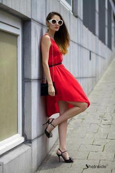 Asymmetric Hem Round Neck Dress