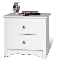 Prepac Monterey 2 Drawer Night Stand WDC-2422 laminated composite woods with a sturdy MDF backer. includes an instruction booklet for easy assembly and has a 5-year manufacturer's limited warranty on parts. Constructed from CARB-compliant. a scalloped base panel and solid dark pewter knobs. Ships Ready to Assemble.  #Prepac #Furniture