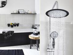 Mes astuces déco pour une salle de bain noire et blanche 1 Decoration, Bathtub, Mirror, Bathroom, Furniture, Home Decor, Home Ideas, Kitchens, Decorating
