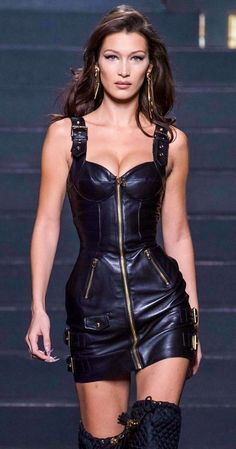 ★ IG/PIN ★ @JULIANNAPAIIGE ★     Bella Hadid Desinger unknown #laurethdysiac - #Bella #Desinger #Hadid #laurethdysiac #Unknown Sexy Outfits, Sexy Dresses, Fashion Outfits, Womens Fashion, Leather Fashion, Moschino, Leather Dresses, Leather Skirt, Leather Outfits