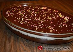 Great recipe for Karidopita with pudding and chocolate glaze. This is one of the best sweets that I have ever tasted! I couldn't stop drooling while I was making it! Greek Sweets, Greek Desserts, Greek Recipes, My Recipes, Dessert Recipes, Cooking Recipes, Favorite Recipes, Chocolate Glaze Recipes, Chocolate Ganache