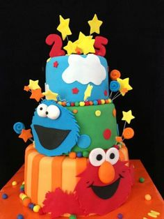 Dots, Stripes and Clouds Elmo and Cookie Monster Cake