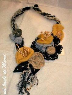 Felt Jeweler - Original and elegant Fabric Flower Necklace, Fabric Jewelry, Wire Jewelry, Jewelry Crafts, Jewelery, Diy Macrame Necklace Tutorial, Crochet Necklace, Bib Necklaces, Seed Bead Bracelets