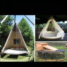 Recycle old trampolines! What a roomy and gorgeous idea for a rabbit hutch.