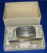 Sterling silver brush & comb set in original box