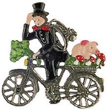 Biking Chimney Sweep German Pewter Christmas Ornament Decoration Made in Germany